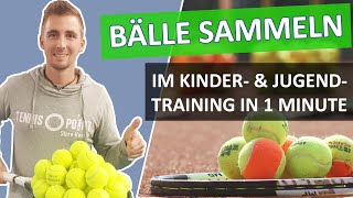 Wie Eure Schüler im Tennistraining in 1 Minute alle Bälle sammeln - Tennistraining Tipps