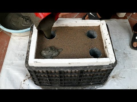 Techniques For Making Flower Pots From Plastic Baskets And Cement.( Easy And Simple)