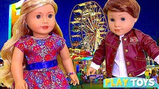 Baby Doll Ice Cream Shop! 🎀 Play American Girl Dolls Food Toys at Amusement Park!