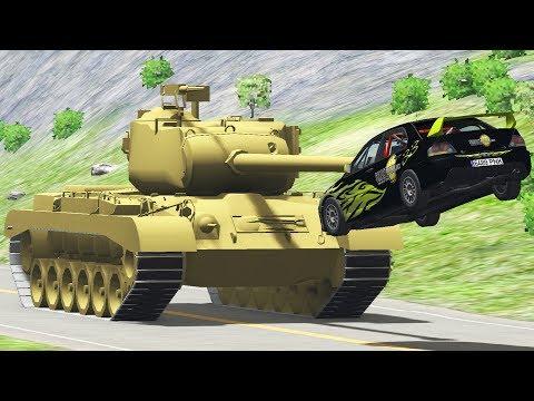 Cars vs Tank Crashes Beamng Drive