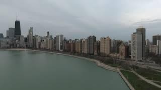 DJI Phantom 4 Chicago Lakefront skyline overcast (2017)