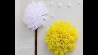 How To Make Deco Mesh Tube Flowers