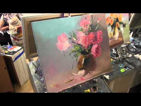 Букет мастихином, научиться писать, рисовать цветы, масляная живопись, Сахаров, уроки в Москве