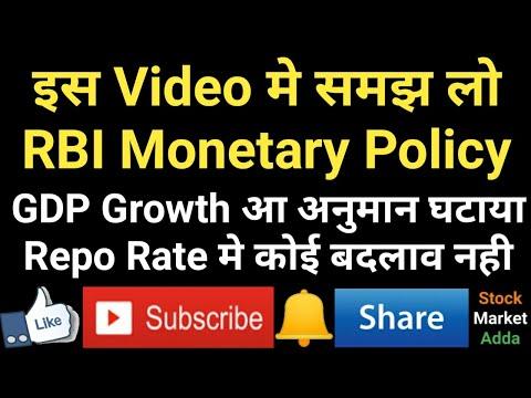RBI Monetary Policy, GDP Growth अनुमान घटाया, Repo Rate मे कोई बदलाव नही