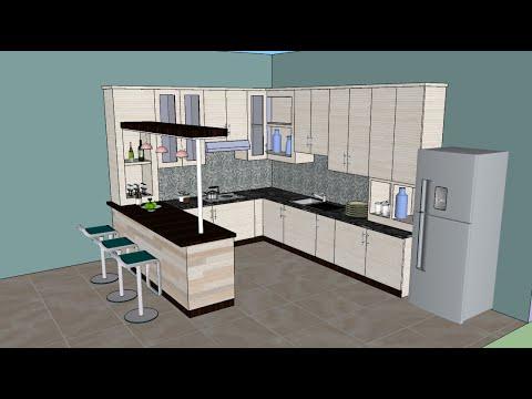 Sketchup tutorial interior design ( Kitchen )