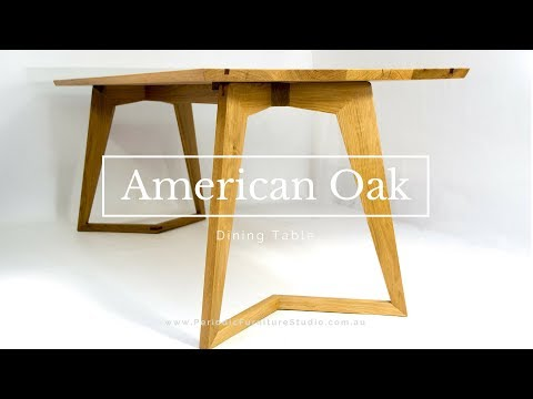 American White Oak Dining Table with a Mid Century Modern Look - A Client Build