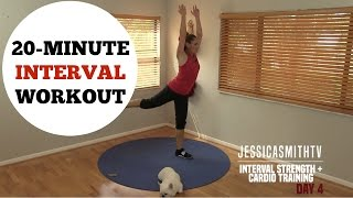 20 Minute Interval Cardio Bodyweight Strength Training Full Workout - No Equipment by jessicasmithtv