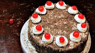 Easy Black Forest Cake(No Oven,No Microwave,No Egg Beater)In A Curry Pan!Easy Bakery Style Cake!