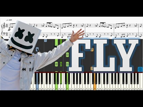Marshmello ft. Leah Culver - Fly - Piano Tutorial w/ Sheet Music