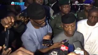 Osinbajo visits the scene of a collapsed building in Abuja