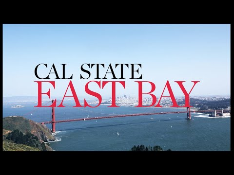 Cal State East Bay logo over SF Bay Area image