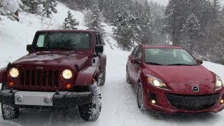 2013 Mazda3 vs Jeep Wrangler Snowstorm Winter Tire Mashup Test