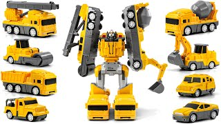 Let's make Cars and make robots with yellow heavy-duty magnetic blocks from Tayo friends!