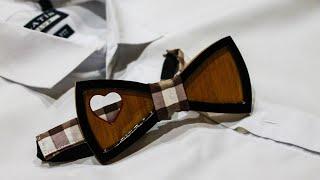 Wooden bow tie. Галстук-бабочка из дерева. Подарок на 14 февраля