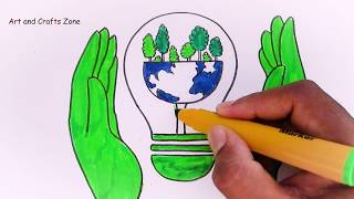 Save Energy And Save Earth Poster Tutorial For Kids || Save Earth, Save Environment Drawing