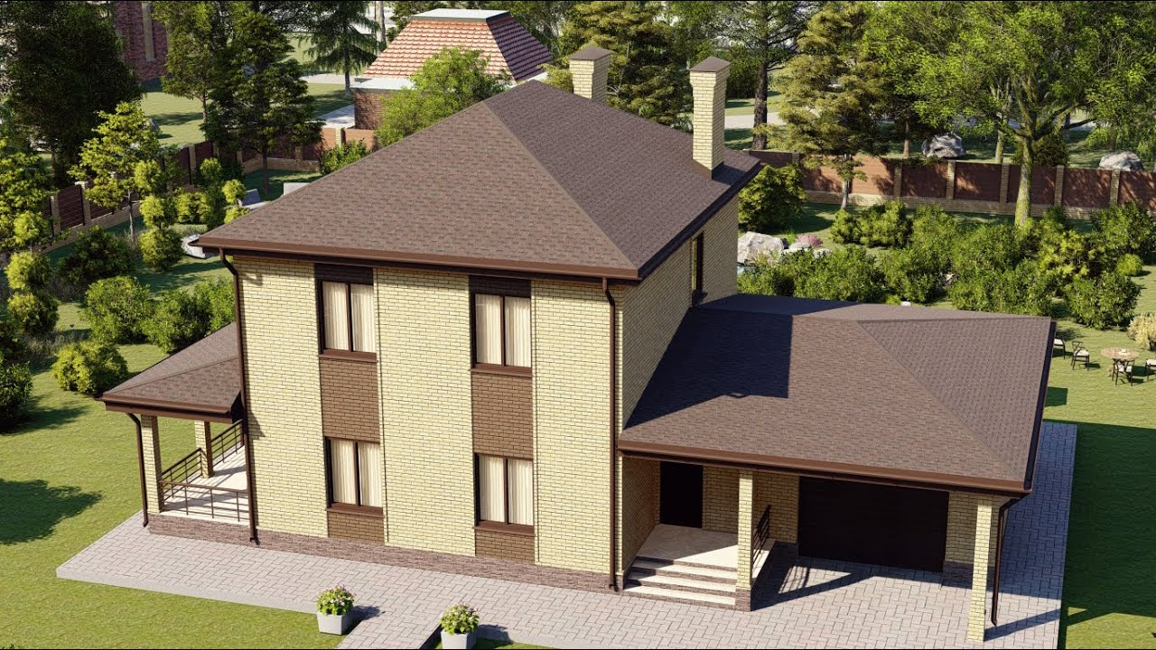 Проект двухэтажного дома с гаражом и террасой 157 м2