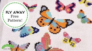 Free Butterfly Cross Stitch Pattern! Caterpillar Cross Stitch
