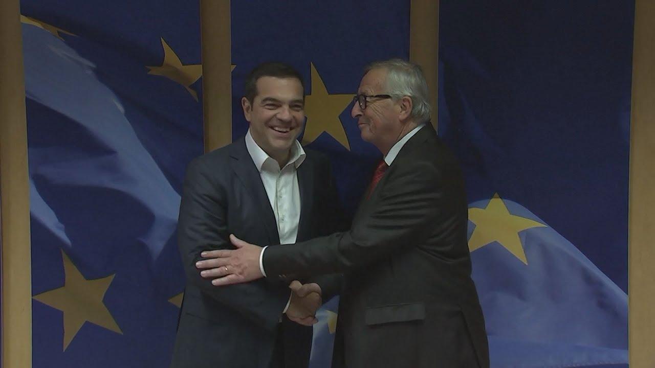 O A. Τσίπρας  με τον πρόεδρο της Ευρωπαϊκής Επιτροπής, Ζαν Κλοντ Γιούνκερ
