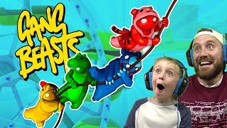 GANG BEASTS Battle Royal! DADCITY vs Little Flash | KIDCITY GAMING