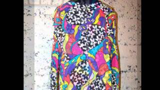 VTG Psychedelic Mod Colorblock Hippie Novelty Op Art Tunic Mini Dress Top Sz M