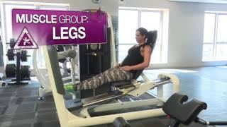 StaceyLee Morgan Trifocus Fitness Ambassador demonstrating the 90 degree Leg press calf