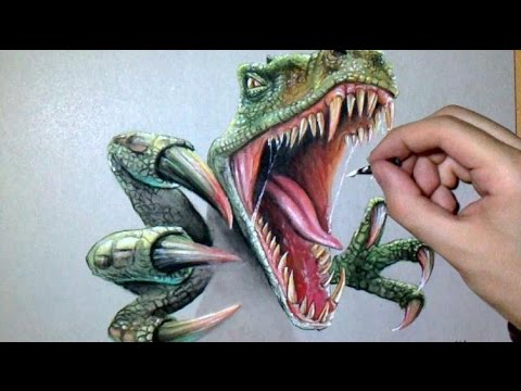 Dessin Réaliste Dinosaure Raptor Art Bucket Video