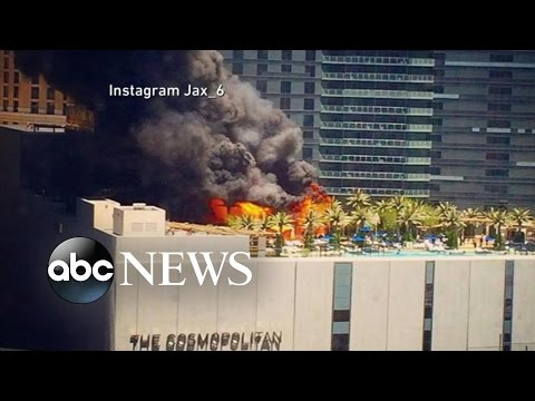Watch fire erupts on pool deck at Las Vegas hotel