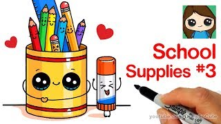 How to Draw Cute Back to School Supplies Easy #3