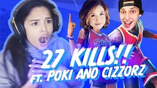 Pokimane and Valkyrae carry FaZe Cizzorz :) - 27 Kill Fortnite Squad Win!
