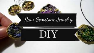 DIY Gemstone Jewelry Using Air Drying Clay   Raw Crystal Jewellery Tutorial   By Fluffy Hedgehog