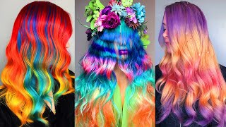 Top Hair Cutting & Rainbow Hair Color Transformation | Amazing Professional Hairstyles Compilation