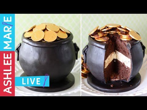 LIVE - how to make a pot of gold cake - St Patricks Day cake