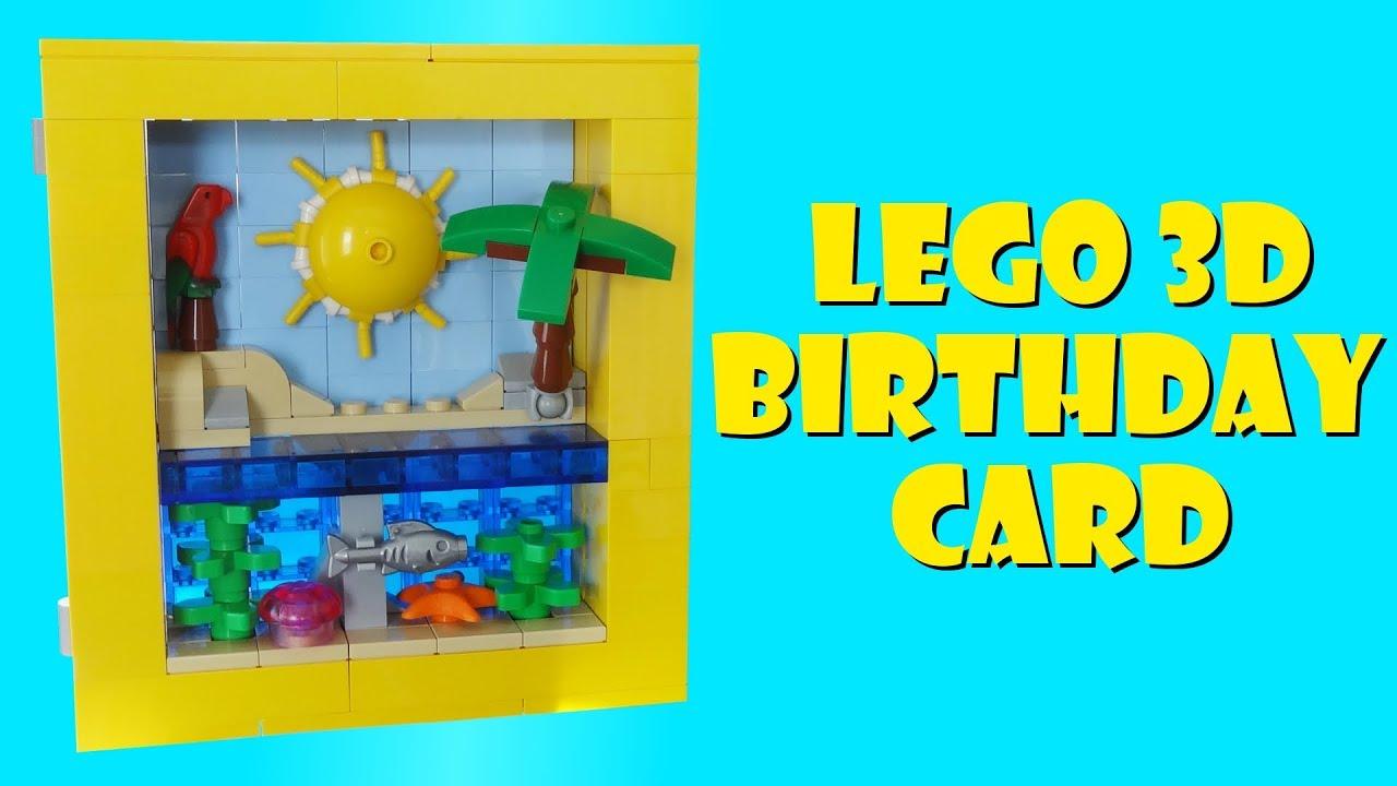 Lego Tropical Beach 3D Birthday Card