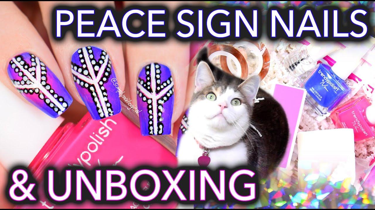 Peace sign dotticure nail art with Trendy Polish subscription box! thumbnail