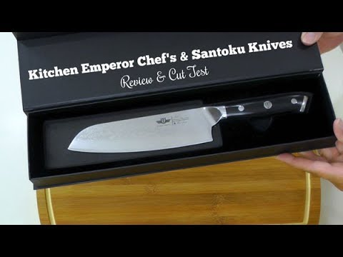 Chef's Knife and Santoku Review ~ Kitchen Emperor Knife Review & Cut Test ~ Amy Learns to Cook
