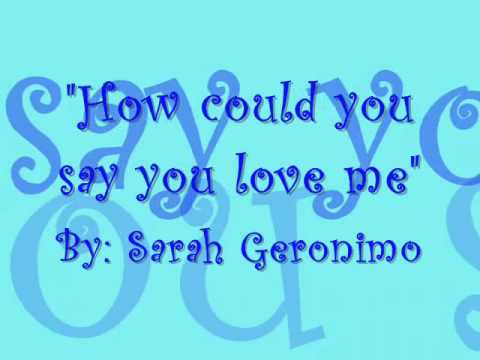 How Could You Say You Love Me With Lyrics Sarah Geronimo Chords