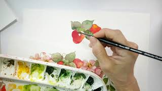 Watercolour Fruit And Floral Wreaths - Strawberries & Anemones Demo