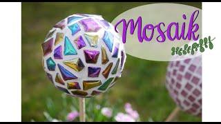 Gartenkugeln mit Mosaiksteinen gestalten - Deko für den Garten Terrasse Balkon selber machen - DIY