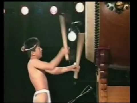 Boy Playing Traditional Japanese Taiko
