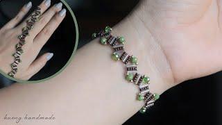 Zig Zag Bracelet. How To Make Beaded Bracelet. Beading Tutorial