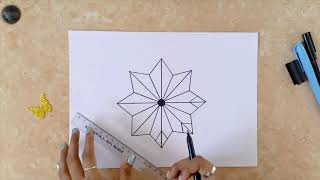 Color Zentangle Illustrations|Step By Step Tutorial For Beginners |Flower Zen Pattern| ZenColor#6