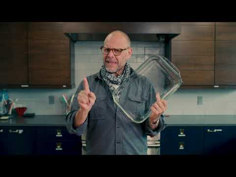Alton Brown actually warning his viewers from a previous episode to take caution when using class cookware