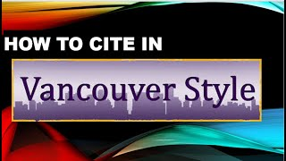 How to add references in vancouver Style