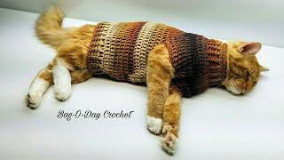 How To Crochet Stevens Striped Sweater Crochet Cat Sweater Tutorial #426