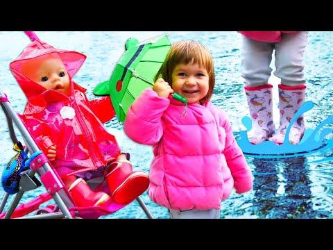 Привет, Бьянка и Беби Бон гуляют по лужам в резиновых сапогах с Машей Капуки