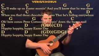Peter Cottontail (Gene Autry) Easy Baritone Ukulele Cover Lesson with Chords and Lyrics