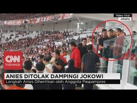 Viral! Anies Baswedan Dihadang Paspampres ke Podium Final Piala Presiden 2018