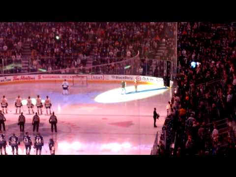 November 18, 2014, leafs vs nashville predators. The mic cut out partway through the us national anthem and the Canadian fans took it from there!