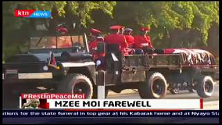 Casket carrying Moi's body leaves Lee funeral home to parliament buildings surrounded with military