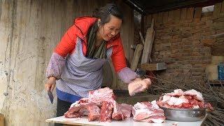 农村人过年备食材,60斤猪肉一锅熬,满院飘香把人馋的受不了! 【泥土的清香】
